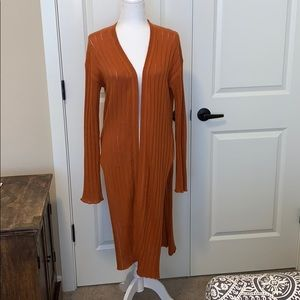 Free People rust colored long cardigan.